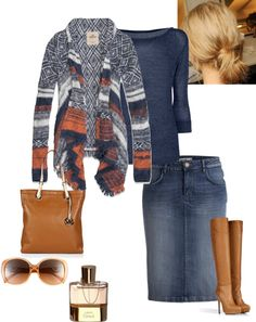 """Warm & Cozy"" by sweet-spicy-micky ❤ liked on Polyvore except different boots because I would kill myself in those heels! Jean Skirt Outfits, Modest Outfits, Denim Skirt, Cool Outfits, Casual Outfits, Apostolic Clothing, Apostolic Fashion, Modest Fashion, Fashion Outfits"
