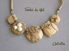 The beautiful tutorial for making wooden looking polymer clay necklace