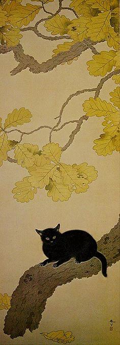 Hishida Shunsō (Japan, 1874-1911) - Black Cat (Kuroki Neko), 1910