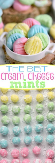 The BEST Cream Cheese Mints youll ever try! This incredibly easy recipe yields - Candy - Ideas of Candy - The BEST Cream Cheese Mints youll ever try! This incredibly easy recipe yields the most delicious luscious melt-in-your-mouth cream cheese mi Mint Recipes, Sweet Recipes, Easy Candy Recipes, Easy Easter Recipes, Crowd Recipes, Budget Recipes, Holiday Baking, Christmas Baking, Christmas Candy