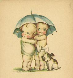 Kewpie Cuties Under an Umbrella.