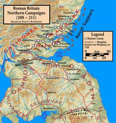 Roman invasion of Caledonia - Wikipedia Map Of Britain, Roman Britain, Great Britain, Uk History, British History, Family History, Old Maps, Historical Maps, Writing Resources