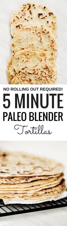 Thin soft shell paleo tortillas made in five minutes! No rolling out required. Make these soft gluten free blender by blending almond flour, tapioca flour, avocado oil, and coconut milk in a blender. Pour batter onto a skillet and out comes the most beautiful and tasty grain free tortillas, perfect for taco night or a breakfast burrito! The easiest, most versatile, fool proof, and delicious paleo flour tortillas! Easy gluten free tortilla recipe. best gluten free tortilla recipe. Best paleo…