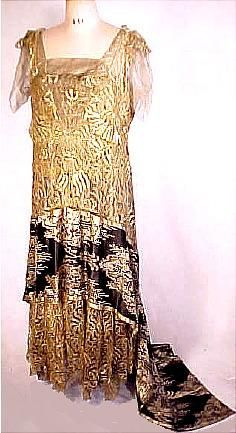 c. 1922 Incredible Gold Metallic Bobbin Lace Gown with Silk Tissue Chiffon and Black Netting under and Fabulous Wide Black Silk/Gold Lame Woven Panel