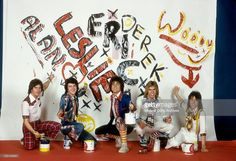 Scottish rock band 'The Bay City Rollers' pose for a portrait in April, 1975 in Los Angeles, California. (L-R) Alan Longmuir, Leslie Mckeown, Eric Faulkner, Derek Longmuir and Stuart 'Woody' Wood.