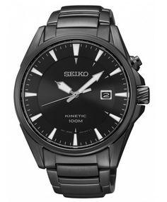 Montre Seiko Kinetic homme avec bracelet acier et cadran noir, calibre 5M62 avec 6 mois de réserve de marche.