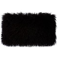 Donna Karan Home Flokati Wool Pillow ($260) ❤ liked on Polyvore featuring home, home decor, throw pillows, fillers, bags, pillows, black, grey, black toss pillows and donna karan