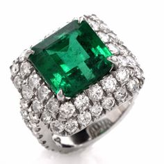 13.67ct Emerald and Diamond Cocktail Ring