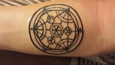 Full metal alchemist tattoo that I got. Human transmutation circle. Amazed that the artist pulled off the detail.