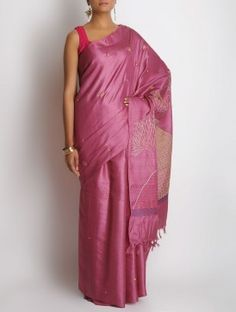 Fuschia Tussar Silk Zari Hand Embroidered Saree