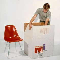 Vintage Eames chair photograph, with its original shipping box Beauty Supply Near Me, Another A, Commercial Furniture, Plastic Molds, Mid Century Modern Design, Modern Graphic Design, Chair And Ottoman, Modern Chairs, Eames
