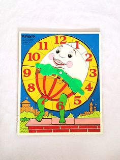 Humpty Dumpty Wood Puzzle Telling Time by Rubyapplevintage on Etsy