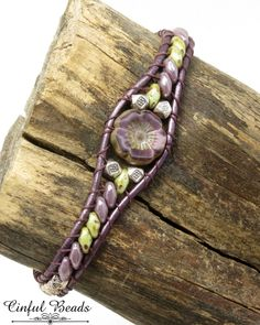 Amethyst and Olivine Beaded Leather Bracelet-Hawaiian Flower-Boho-Chic-Hippie-Bohemian Leather-SuperDuos-Czech Flower-Leather by CinfulBeadCreations on Etsy Leather Earrings, Leather Jewelry, Leather Bracelets, Silver Bracelets, Silver Earrings, Jewelry Bracelets, Stud Earrings, Beaded Wrap Bracelets, Beaded Jewelry