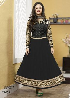 Black Neck Embroidered Long Anarkali Suit