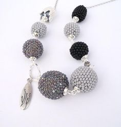Beaded Bead Necklace, Grey to Black