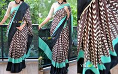 PAC MAN'S FAV! Comfortable to drape and high quality printed Linen Saree in 3 shades
