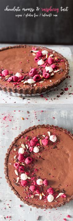 Vegan Chocolate Mousse Raspberry Tart {almost raw}