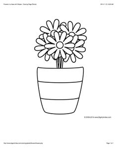 Coloring page with flowers in a vase to color
