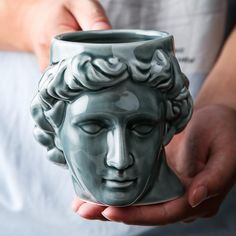 Sculpture Head, Roman Sculpture, Sculptures, Coffee Cup Art, Ceramic Coffee Cups, Coffee Mugs, Michelangelo, Milk And More, Mugs