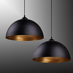 BAYTTERR Design 2x Industrielle Vintage LED Pendelleuchte Hangeleuchte 30cm Fur E27 Leuchtmittel Schwarz