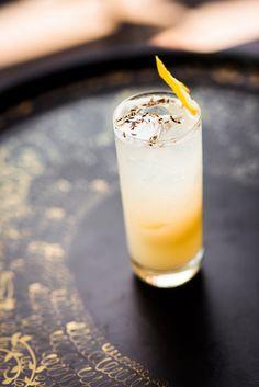 honeysuckle lavender flip with  Cathead honeysuckle vodka, housemade lavender-sweet & sour, soda water and fresh lemon