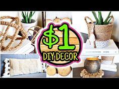 Dollar Tree DIY Room Decor Anthropologie & West Elm Inspired - Home Accessories Decor West Elm, Dollar Tree Decor, Dollar Tree Crafts, Easy Diy Room Decor, Diy Home Decor, Anthropologie, Boho Diy, Boho Decor, Rope Crafts