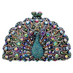 Swarovski Crystal Peacock Clutch Bag