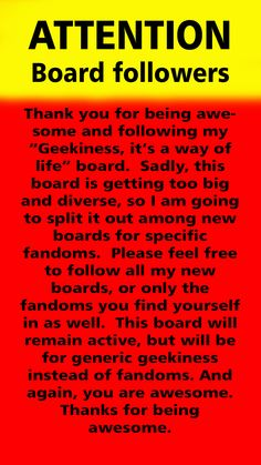 Attention followers!  This is an announcement.