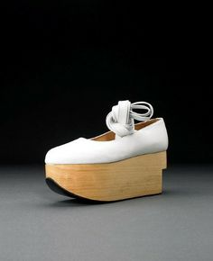 An exhibit from Vivienne Westwood shoe exhibition. Rocking Horse Ballerina Harris Tweed collection AW 1986.