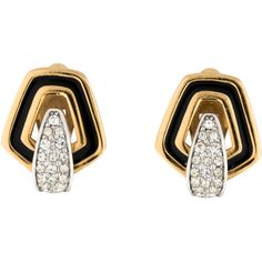 Pre-owned Givenchy Crystal and Enamel Clip-On Earrings ($145) ❤ liked on Polyvore featuring jewelry, earrings, crystal jewelry, enamel earrings, crystal clip on earrings, enamel jewelry and pre owned jewelry