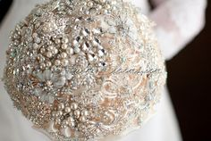 Silver Ivory Wedding Brooch Bouquet for your Signature Wedding, Glamour Romance is High End Bridal Bouquet from Ruby Blooms Luxury, Signature Collection