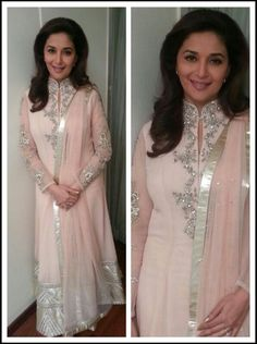 Madhuri Dixit in Shehlaa by Shehla Khan. powder pink.