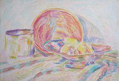 "Pablo Felipe Villegas Mañé ""Bodegón con frutera"" Pastel sobre papel  26 x 37 cm. Año 1975  http://www.portondesanpedro.com/ver-producto.php?id=12530"