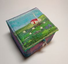 Handmade Textile Trinket Box with Cottage and Sheep    This box has been handmade using Harris Tweed and handmade felt.  10 x 6 cm £40 https://www.etsy.com/uk/listing/211813477/harris-tweed-and-felt-trinket-box-with?ref=shop_home_active_1