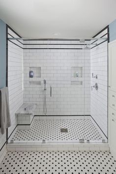 style whole house remodel in the Austin, TX area by Jameson Interiors and A. Photo by Andrea Calo Upstairs Bathrooms, Downstairs Bathroom, Bathroom Renos, Bathroom Interior, Master Bathroom, Bathroom Ideas, 1920s Bathroom, White Bathroom Tiles, Rustic Bathroom Designs