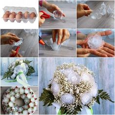 Reciclar las cajas de huevos de plástico – Flores