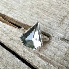 Geometric Triangle Golden Mirror Kite Heptagon Pyrite Quartz Doublet Ring in Sterling Silver