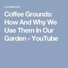 Coffee Grounds: How And Why We Use Them In Our Garden - YouTube