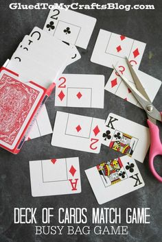 (From the leftover number cards from making a pinochle deck!) Deck of Cards Match Game - Busy Bag Idea - super simple! Great idea for those decks where few cards are missing! Nursing Home Activities, Elderly Activities, Senior Activities, Work Activities, Therapy Activities, Preschool Activities, Senior Games, Christmas Activities, Winter Activities