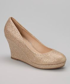Take a look at the Champagne Glitter Soft Wedge on #zulily today!