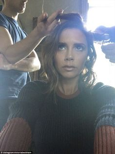 Time for a change: Victoria Beckham has her hair lightened and styled by Luke Hersheson an...