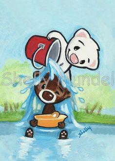 Ferret Art ACEO print  Water Boy  Shelly Mundel by ShellyMundelArt