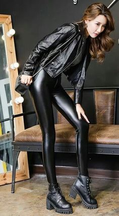 Read about womens faux leather pants Leather Pants Outfit, Leather Jacket, Sexy Outfits, Trendy Outfits, Latex Pants, Latex Skirt, Leder Outfits, Shiny Leggings, Fashion Moda