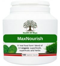 Max Nourish Max Nourish Summary An organic superfood multi-nutrient blend in easy-to-take capsules:  14 'real food form' superfoods, superfruits and beneficial herbs packed into easy-to-take capsules. The nutrient-dense ingredients in this unique multi-nutrient blend include green tea leaf, barley grass, pre-sprouted activated barley, beetroot, spirulina, wheatgrass and more!