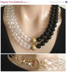 Ashira Statement Necklace Black Onyx, Rock Crystal and Gold Vermeil Focal Beads Bead Jewellery, Pearl Jewelry, Gemstone Jewelry, Beaded Jewelry, Jewelery, Jewelry Necklaces, Geek Jewelry, Gothic Jewelry, Bullet Jewelry