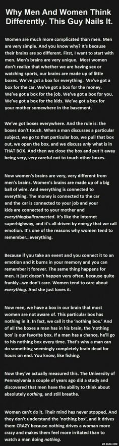 Why men and women think differently. Ah yes. The nothing box.