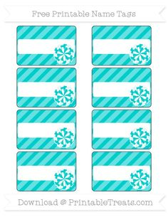 Free Robin Egg Blue Diagonal Striped  Cheer Pom Pom Name Tags