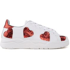 Chiara Ferragni  Roger Heart Leather Sneakers ($305) ❤ liked on Polyvore featuring shoes, sneakers, multicolor, lace up sneakers, white leather shoes, white trainers, white shoes and red leather shoes