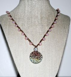 Surf Style Crochet  Beaded Necklace With Raku Flower by seachic, $38.00