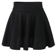 FUNOC Fashion Womens Ladies High Waist Plain Pleated Flared Mini Skater (Blue) at Amazon Women's Clothing store: Skirts